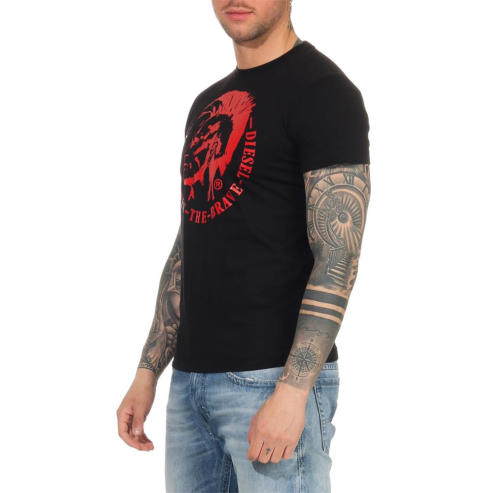 DIESEL-T-Head-PS-Herren-T-Shirt-Mohawk-Tee-Shirt-Kurzarm Indexbild 9