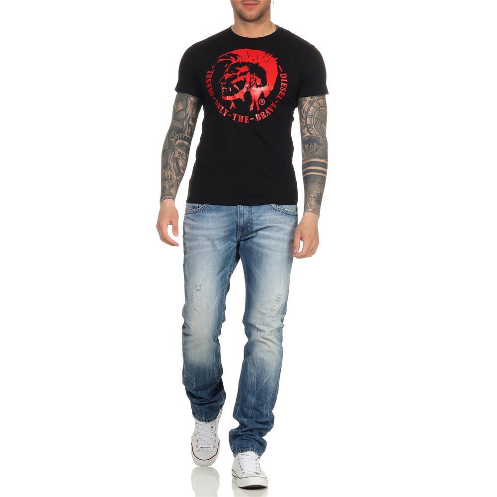 DIESEL-T-Head-PS-Herren-T-Shirt-Mohawk-Tee-Shirt-Kurzarm Indexbild 11