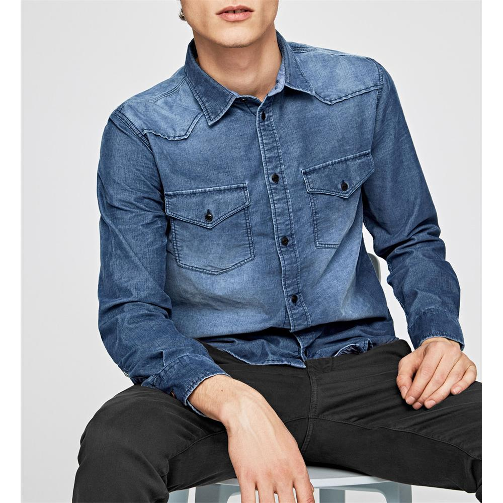 Pepe-Jeans-Canyon-Cord-Herren-Hemd-Langarm-Shirt-Jeans-look Indexbild 3
